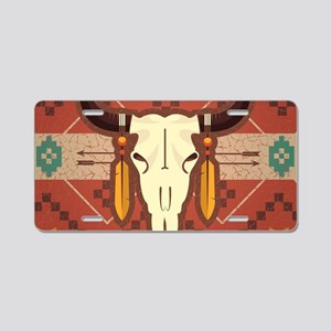 Western Cow Skull Aluminum License Plate
