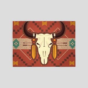 Western Cow Skull 5'x7'Area Rug