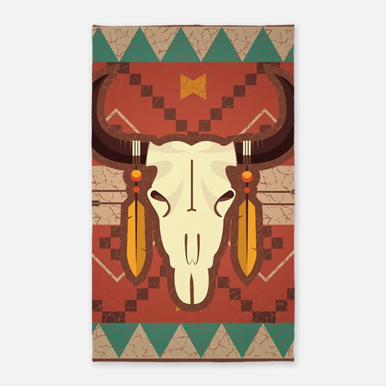 Western Cow Skull Area Rug