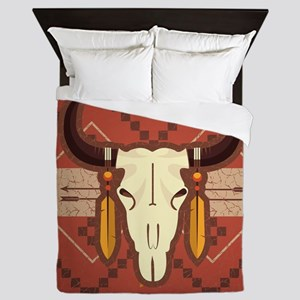 Western Cow Skull Queen Duvet
