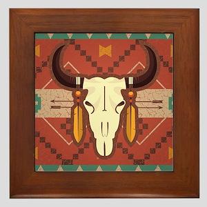 Western Cow Skull Framed Tile