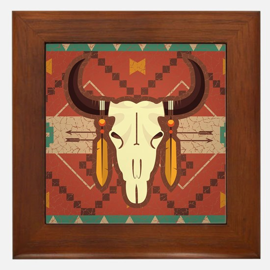 Western Cow Skull Framed Tile