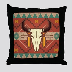 Western Cow Skull Throw Pillow