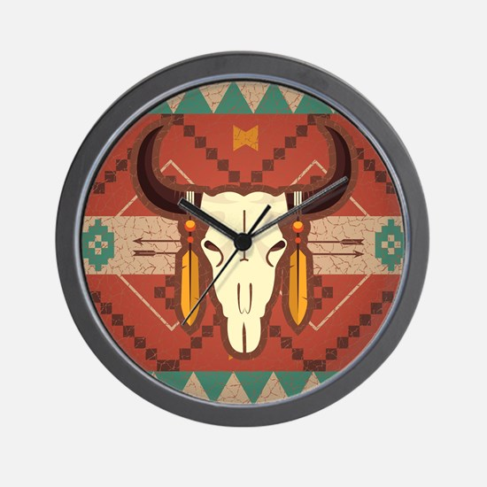 Western Cow Skull Wall Clock