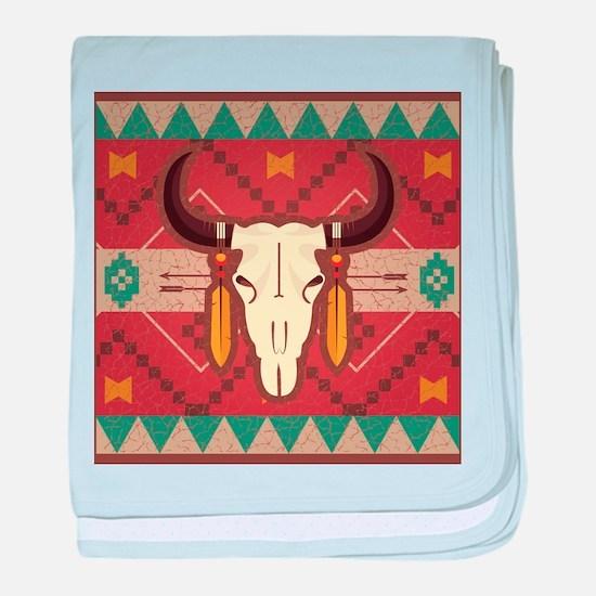 Western Cow Skull baby blanket