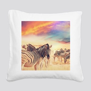 Beautiful Zebras Square Canvas Pillow