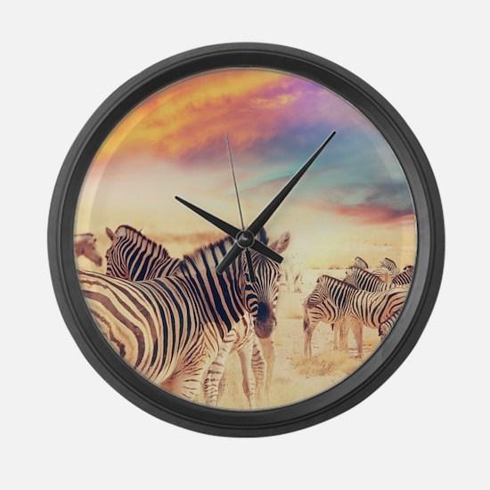 Beautiful Zebras Large Wall Clock