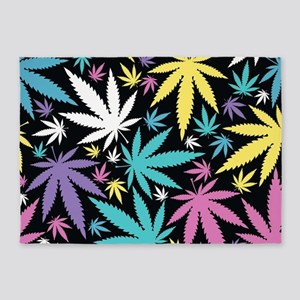Colorful Cannabis 5'x7'Area Rug