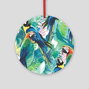 Colorful Parrots Round Ornament