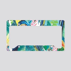 Colorful Parrots License Plate Holder