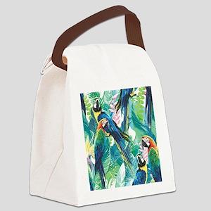 Colorful Parrots Canvas Lunch Bag
