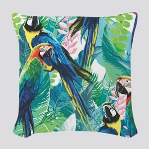 Colorful Parrots Woven Throw Pillow