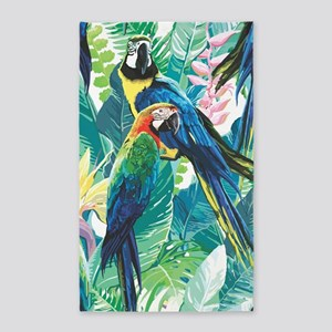 Colorful Parrots Area Rug