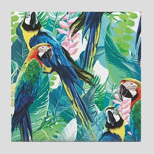 Colorful Parrots Tile Coaster