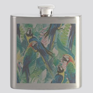 Colorful Parrots Flask