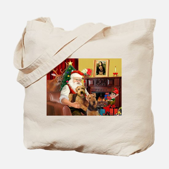 Santa's Two Airedales Tote Bag