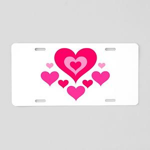 Many Hearts Aluminum License Plate