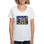 Starry Night Red Husky Pair Women's V-Neck T-Shirt