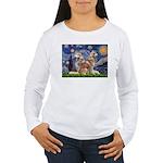 Starry Night Red Husky Pair Women's Long Sleeve T-