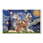 Starry Night Red Husky Pair Sticker (Rectangle)