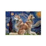 Starry Night Red Husky Pair Rectangle Magnet (10 p