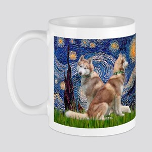 Starry Night Red Husky Pair Mug