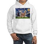 Starry Night Red Husky Pair Hooded Sweatshirt