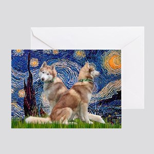 Starry Night Red Husky Pair Greeting Card