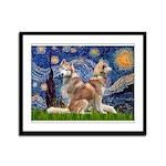 Starry Night Red Husky Pair Framed Panel Print