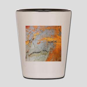 grey yellow metal abstract Shot Glass