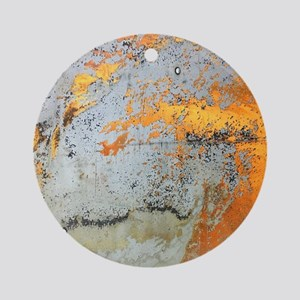 grey yellow metal abstract Round Ornament