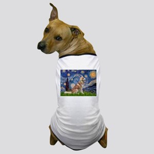 Starry Night & Red Hssky Dog T-Shirt