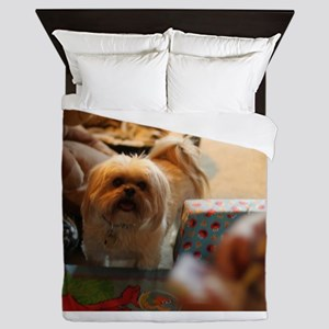 Koko blond Lhasa apso among gift wrap Queen Duvet