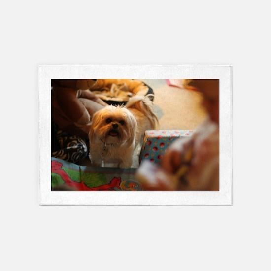 Koko blond Lhasa apso among gift wr 5'x7'Area Rug