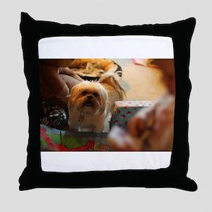 Koko blond Lhasa apso among gift wrap Throw Pillow