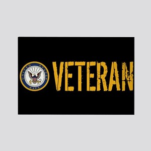 U.S. Navy: Veteran (Black) Rectangle Magnet