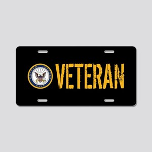 U.S. Navy: Veteran (Black) Aluminum License Plate