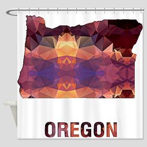 Mosaic Map OREGON Shower Curtain