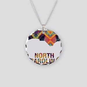 Mosaic Map NORTH CAROLINA Necklace Circle Charm