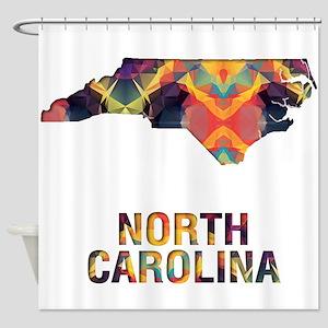 Mosaic Map NORTH CAROLINA Shower Curtain