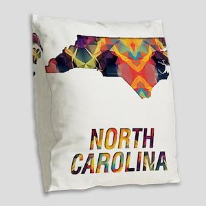 Mosaic Map NORTH CAROLINA Burlap Throw Pillow
