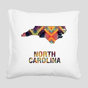 Mosaic Map NORTH CAROLINA Square Canvas Pillow