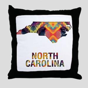 Mosaic Map NORTH CAROLINA Throw Pillow