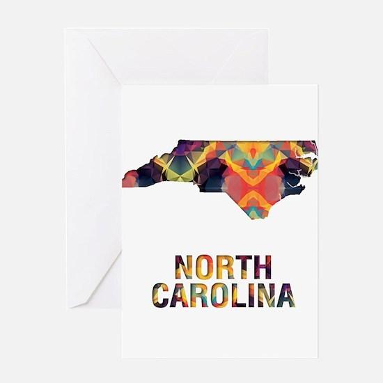 Mosaic Map NORTH CAROLINA Greeting Cards