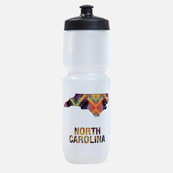 Mosaic Map NORTH CAROLINA Sports Bottle