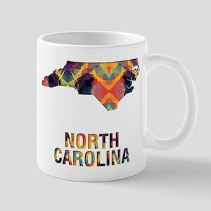 Mosaic Map NORTH CAROLINA Mugs