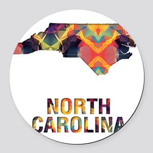Mosaic Map NORTH CAROLINA Round Car Magnet