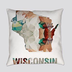 Mosaic Map WISCONSIN Everyday Pillow