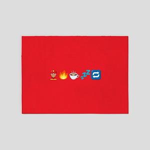 Emoji Fire Coffee Sleep 5'x7'Area Rug
