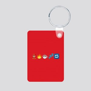 Emoji Fire Coffee Sleep Aluminum Photo Keychain